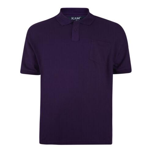 Kingsize Da Uomo Big Size Plain Manica Corta Camicia Polo Top Tasca 3XL 6XL 501