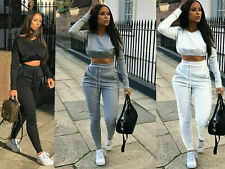 Ladies Co ord Crop Top Bottoms Set Womens 2pcs Loungewear Suit Tracksuit NEW