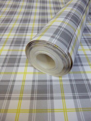 Scottish Yellow Grey Tartan Wallpaper 51138002 Plaid Shabby Chic Check