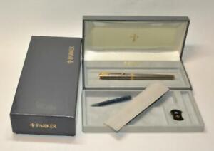 PARKER SONNET STERLING SILVER CISELE//BLACK FOUNTAIN PEN 18K FINE NIB NEW IN BOX