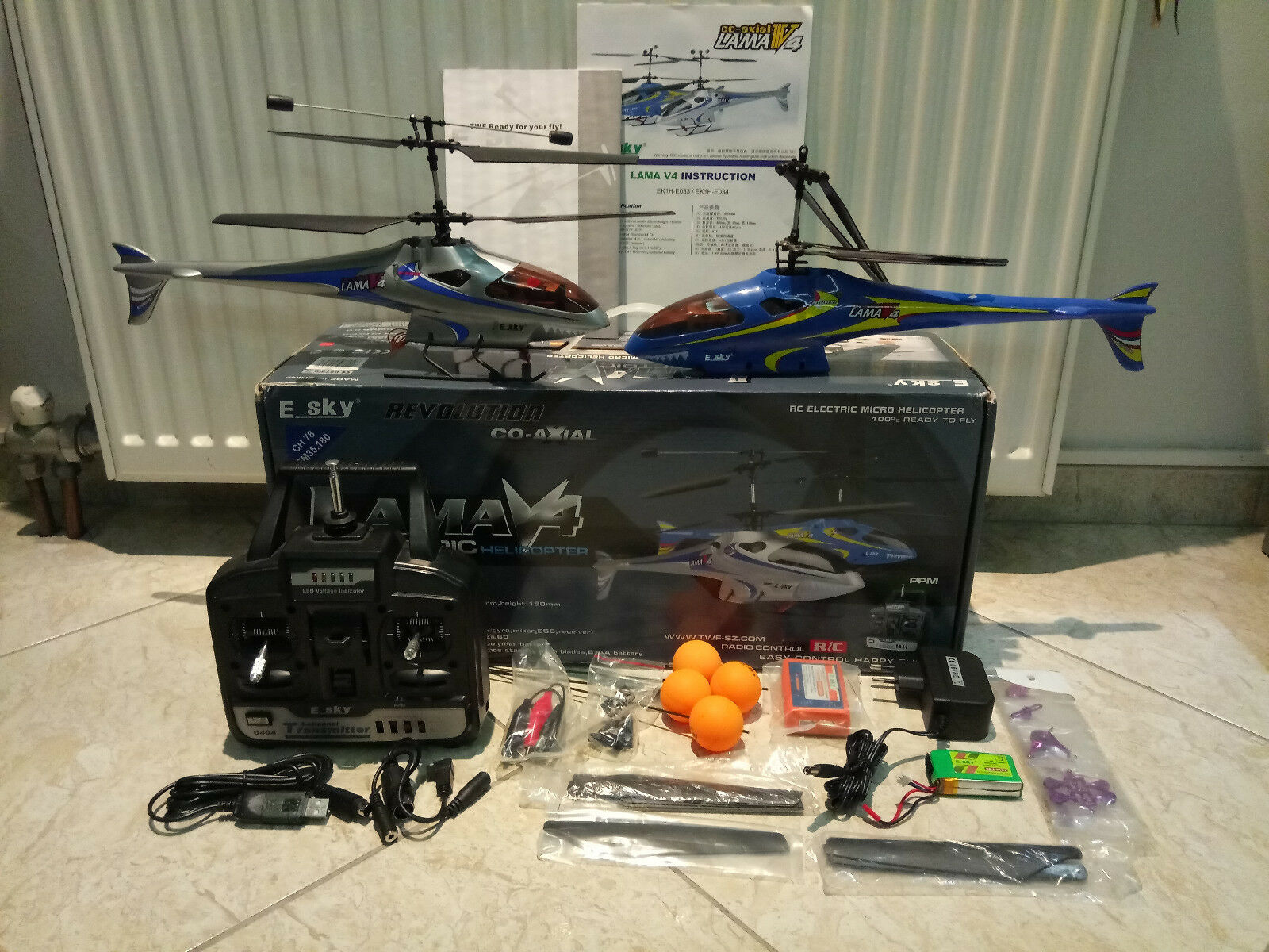 ESky Lama V4 RC Helicopter RTF + Extra + 2nd Heli Parts. Best begginer Heli