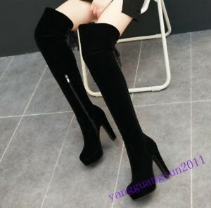 Womens-platform-Over-the-Thigh-high-Boots-High-Heels-Sexy-Black-Lace-Up-shoes