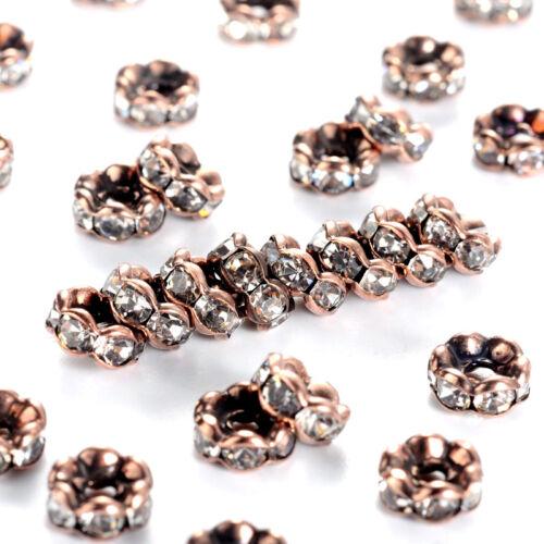 200pcs Rouge Cuivre Laiton Strass Perles Fleur bord ondulé Entretoise Nickel Libre 6 mm