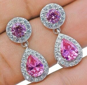 2CT-Pink-Sapphire-amp-White-Topaz-925-Solid-Sterling-Silver-Earrings-Jewelry-X1