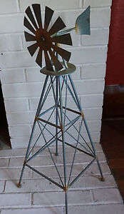 Rustic Country Primitive Amish Style Windmill Metal Garden Home