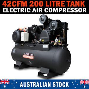 Large Commercial Air Compressor 200 LT Tank 42cfm 3 Cylinder 10hp 3 Phase