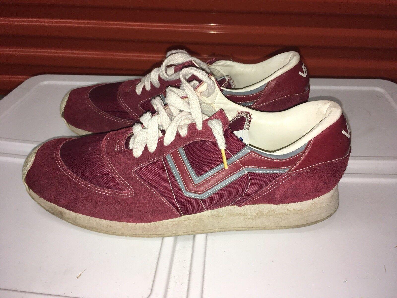 VANS SERIO Runners Vintage Running Shoes Size 12 Big V Maroon Sneakers