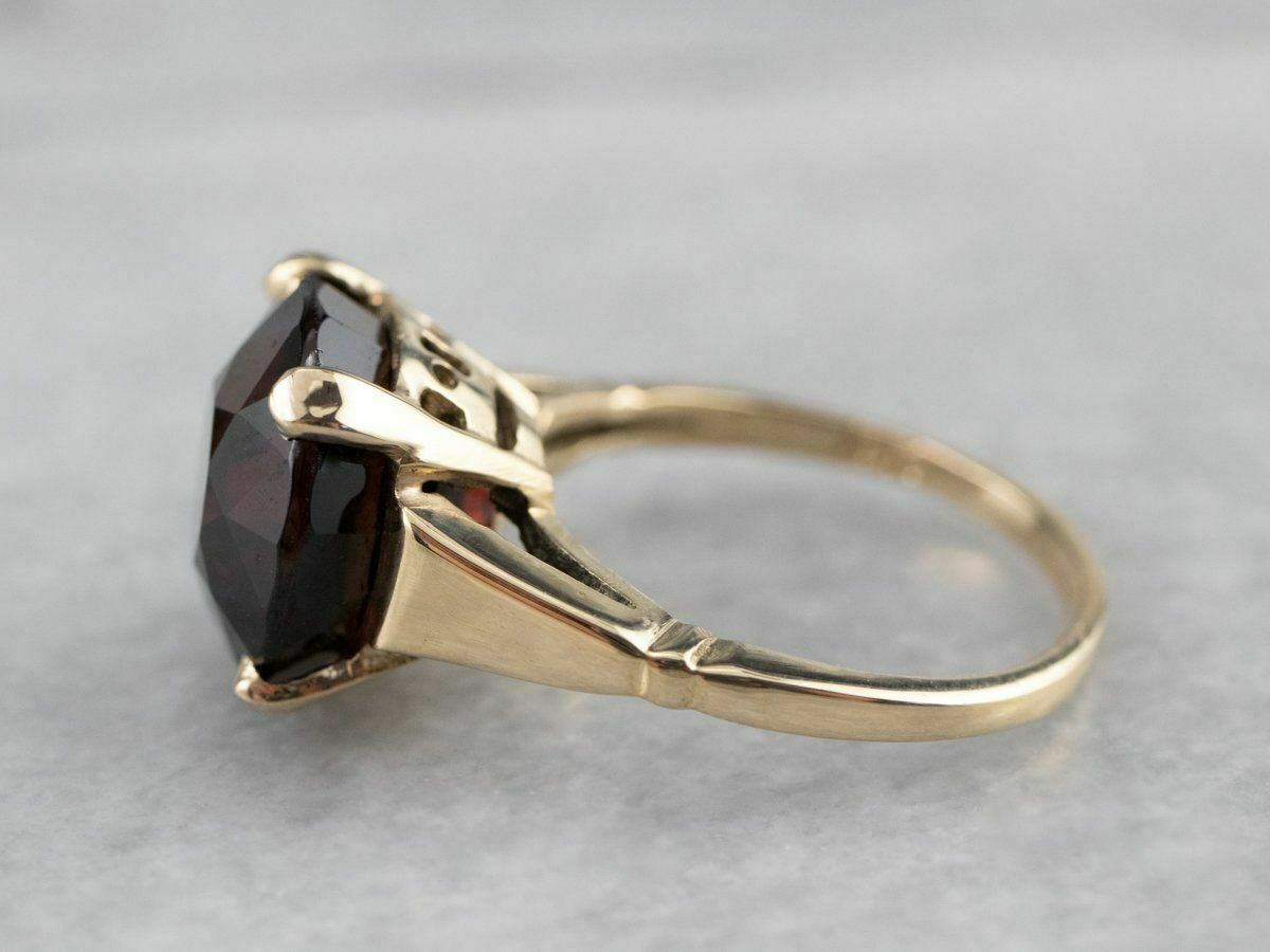 Garnet Gold Solitaire Ring - image 4