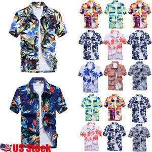 US-Men-039-s-Hawaiian-T-Shirt-Summer-Holiday-Floral-Beach-Short-Sleeve-Tops-Blouse