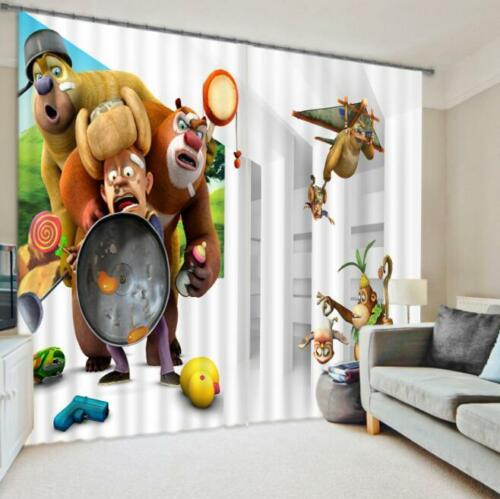 3D Cartoon Animals Blockout Photo Curtain Printing Curtains Drapes Fabric Window