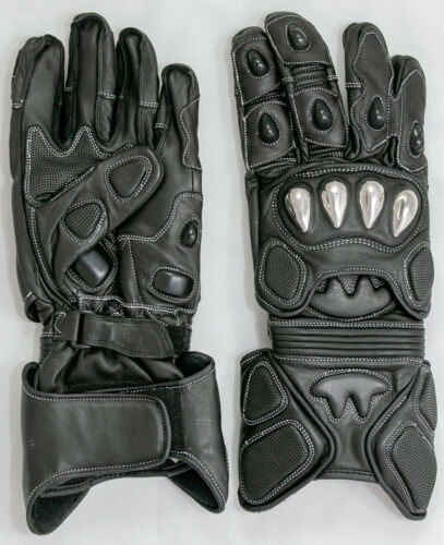 Riparo Motorcycle Gauntlet Genuine Leather Gloves Black