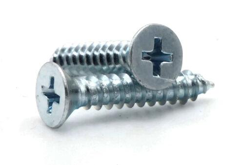 Select Size #8 Sheet Metal Screws Zinc Plated Steel Phillips Flat Head