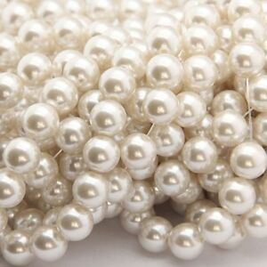 New-White-Glass-Faux-Pearl-Round-Loose-Spacers-Beads-Jewelry-Finding-6-8-10mm