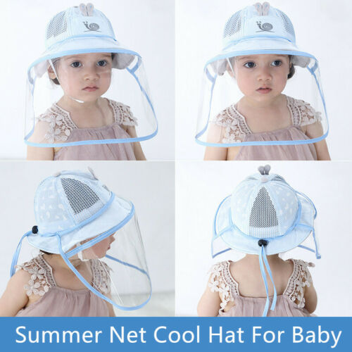 5-12 Months Baby Face Shield Hat Outdoor Safety Summer Foldable Bucket Sun hats