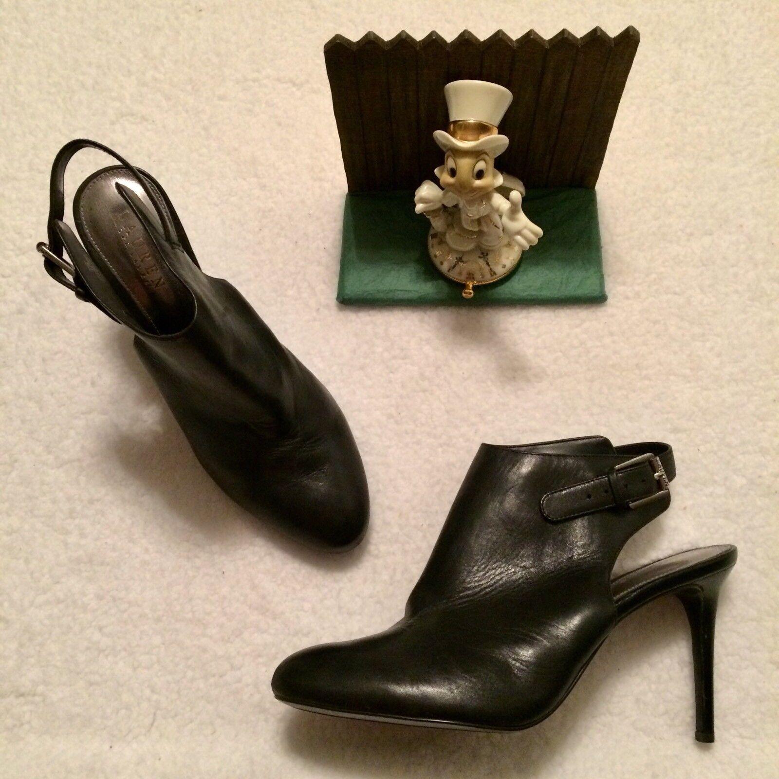 Lauren Ralph Lauren Rayna Black Leather Slingback Bootie Heel Shoes Size 9.5