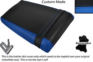 BLACK & LIGHT BLUE CUSTOM FITS SUZUKI GSXR 400 GK 76 A REAR LEATHER SEAT COVER
