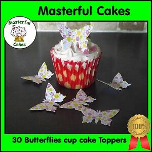 f92c47a1a0 Details about 30 Edible Easter Egg Pre-Cut Design Butterflies Rice paper  Cup Cake Toppers