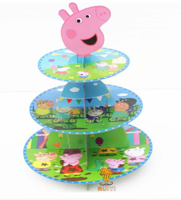 3 Tier Cupcake Stand Cup Cake Cases Toppers Wrappers, Peppa Pig