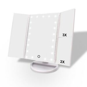 Lighted Makeup Mirror Tri Fold Vanity Mirror With 3x 2x