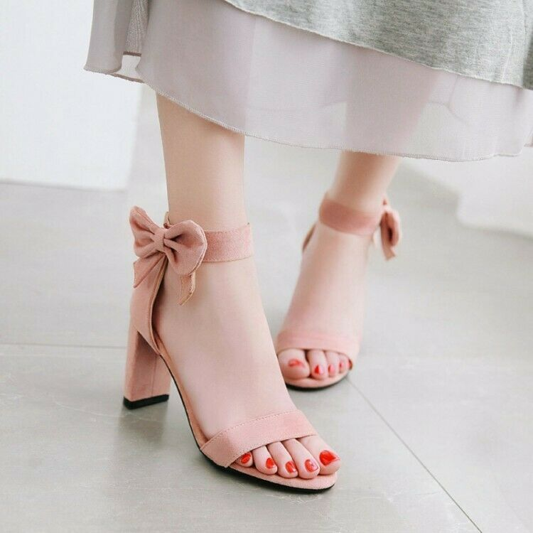 Women's Bows Ankle Strap Block High Heels Peep Toe Suede Sandals shoes Back Zip