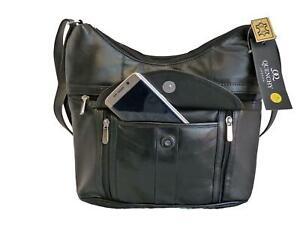 Ladies-Soft-Leather-Black-Handbag-Single-Strap-Cross-Body-Shoulder-Bag-L-QL176K