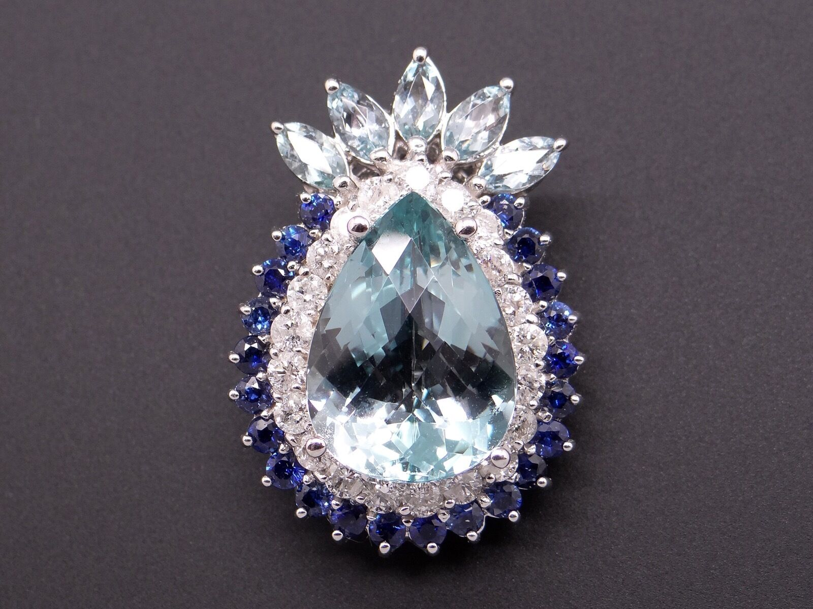 14k White gold 15.75ct Pear Round bluee Topaz Sapphire Diamond Pendant Enhancer