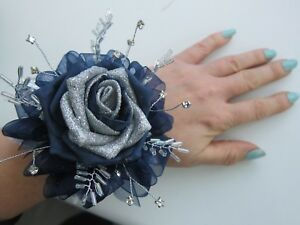 Silver Navy Wrist Corsage Prom Wedding Flowers Rose Bride Maid