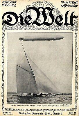 """Transport Das Luftschiff """"hansa"""" Auf Der Kieler Woche Titelblatt-foto Von 1913 High Quality Materials"""