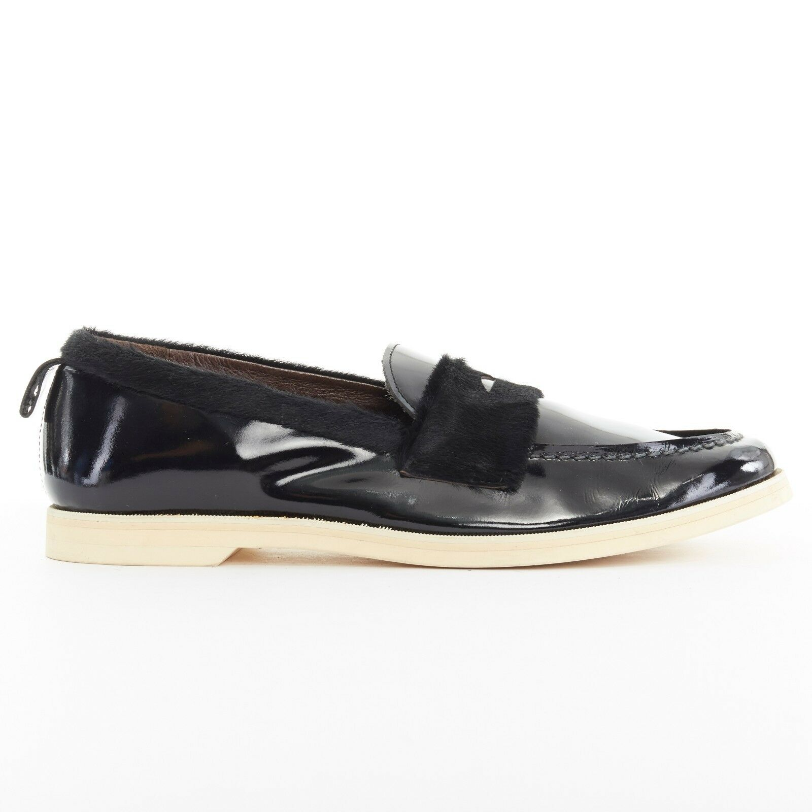Runway KOLOR AW13 black fur shiney leather penny loafer shoes JP28.5 US11 EU44.5