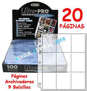 20-HOJAS-ARCHIVADORAS-DE-9-BOLSILLOS-ULTRA-PRO-PLATINUM-PAGINAS-3-ANILLAS