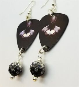 011aa041b Batman Guitar Pick Earrings with Black to White Ombre Pave Bead ...