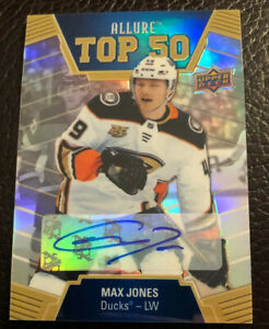 2019-20-Upper-Deck-Allure-MAX-JONES-Top-50-Blue-Auto-Rookie-RC-T50-4-Ducks