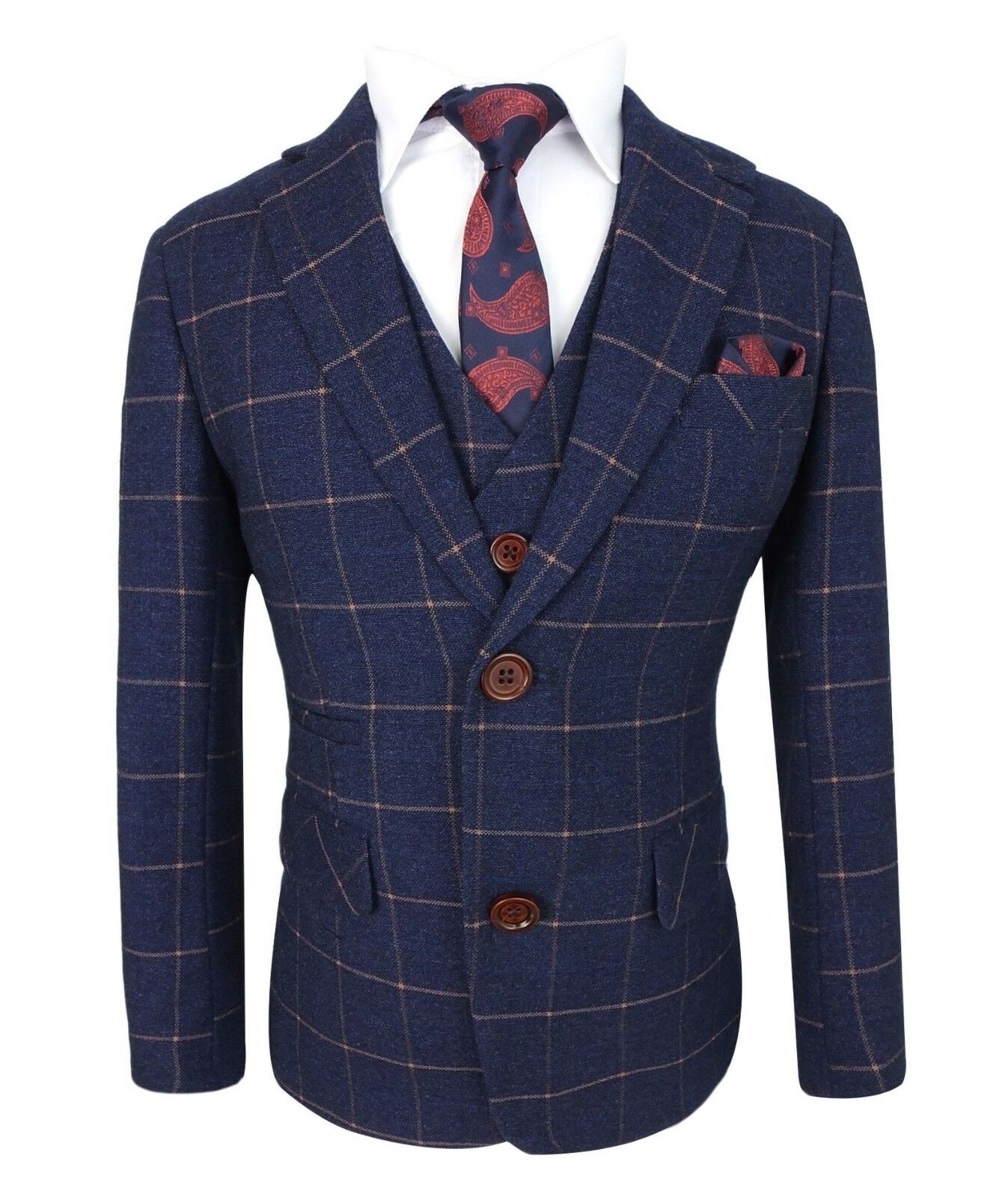 Kids Exclusive Dark Blue Gold Slim Fit Check Suit Page
