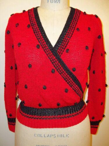 Lillie Rubin Vintage Red & Black Popcorn Knit Swea