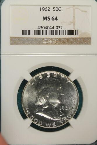 1962 NGC MS64  Franklin Half Dollar!!#HX