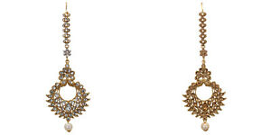 Indian-Bollywood-Bridal-Ethnic-Traditonal-Gold-Plated-CZ-Maang-Tikka-Free-Ship