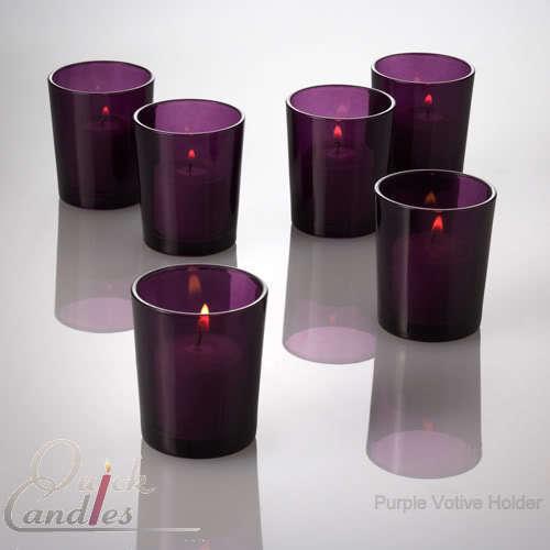 Purple Glass Votive Candle Holders Lot of 72 Wedding