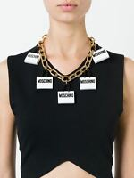 Ss16 Moschino Couture X Jeremy Scott Gold & White Shopping Bag Charms Necklace