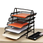 Black Mesh 5 Tier Sliding Tray Desk Organizer Letter Paper Organizer Tray
