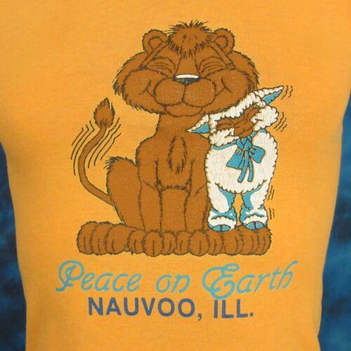 vintage 80s NAUVO ILLINOIS CARTOON LION /& LAMB PEACE ON EARTH T-Shirt XXS thin