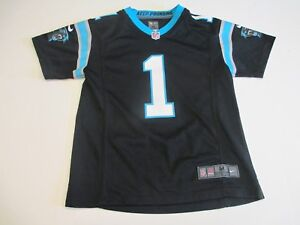 separation shoes 89617 0235a Details about CAROLINA PANTHERS #1 CAM NEWTON NIKE ON FIELD BOYS MEDIUM  10-12 FOOTBALL JERSEY