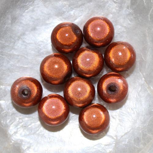 ROUGE COGNAC BEIGE ROSE BLEU RONDES Perles MAGIQUES MIRACLES 10 mm