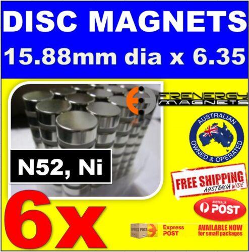 6x Super Rare Earth Disc Magnets 15.88X6.35mmN52Neodymium Bottle Opener