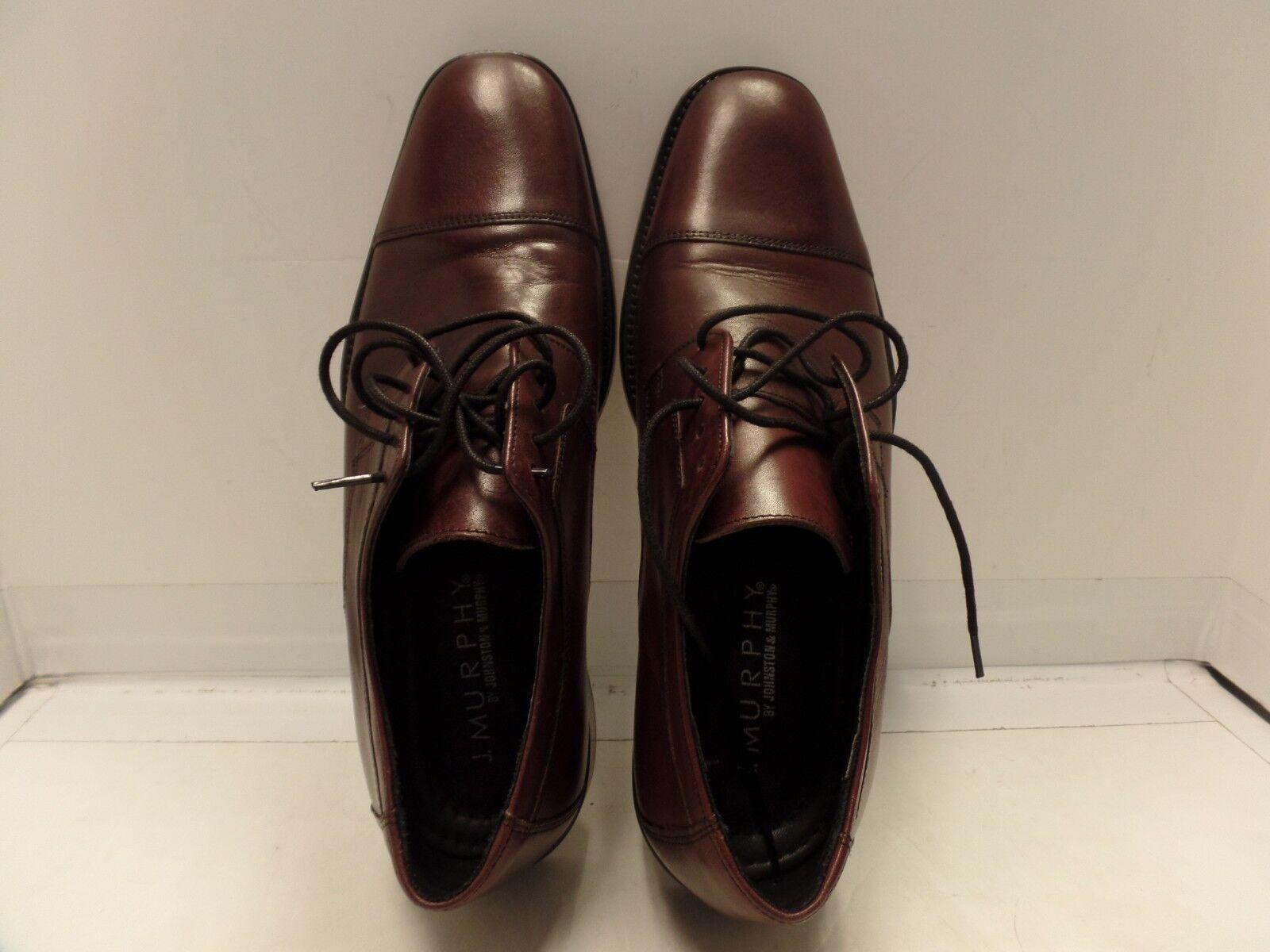 J. Murphy by JOHNSTON & MURPHY 59-11703 Burgundy Leather Cap Toe Oxfords 10.5 M