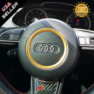 Details About Audi Aluminum Steering Wheel Ring Logo Badge Sticker Emblem Decoration Gold