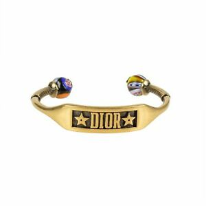 NWT-CHRISTIAN-DIOR-Antique-Gold-Multi-Color-039-Two-Pearls-039-Bracelet