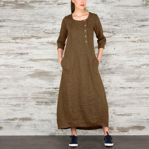 Summer Womens Cotton Long Shirt Dress Loose A Lien Beach Party Kaftan Size 10-24