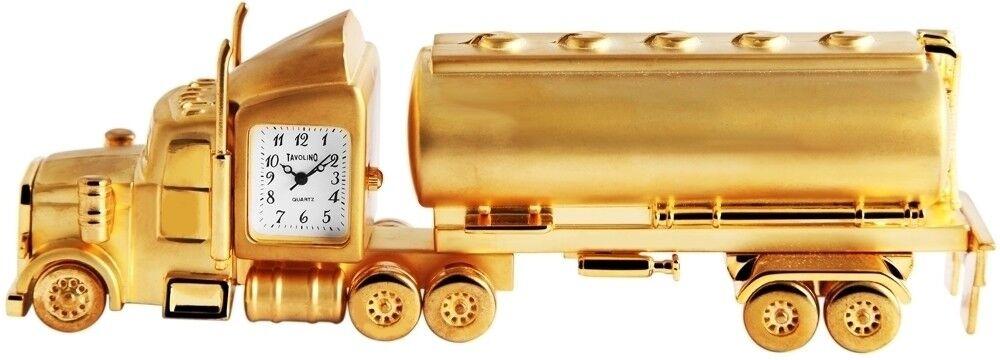 TAVOLINO Miniaturuhr white gold Tankwagen LKW Analog Metall Quarz X-300402200066