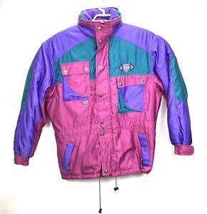 0ff322d2f4 Details about Vintage 80s 90s Retro Asics Size Large Pastel Color Block Ski  Winter Coat