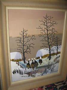 MARCHELLII-I-XX-Jhd-Frauen-vor-winterlichem-Dorf